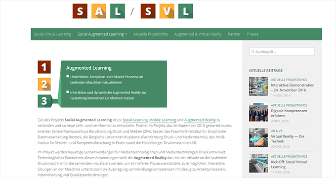 Social Augmented Learning (SAL): Screenshot © Social Augmented Learning