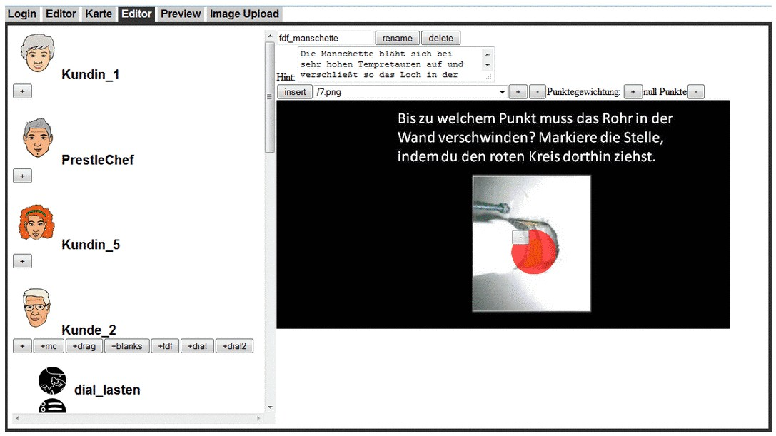 "Screenshot: Web-Editor der ""BlendedContENT""-Lernstadt"
